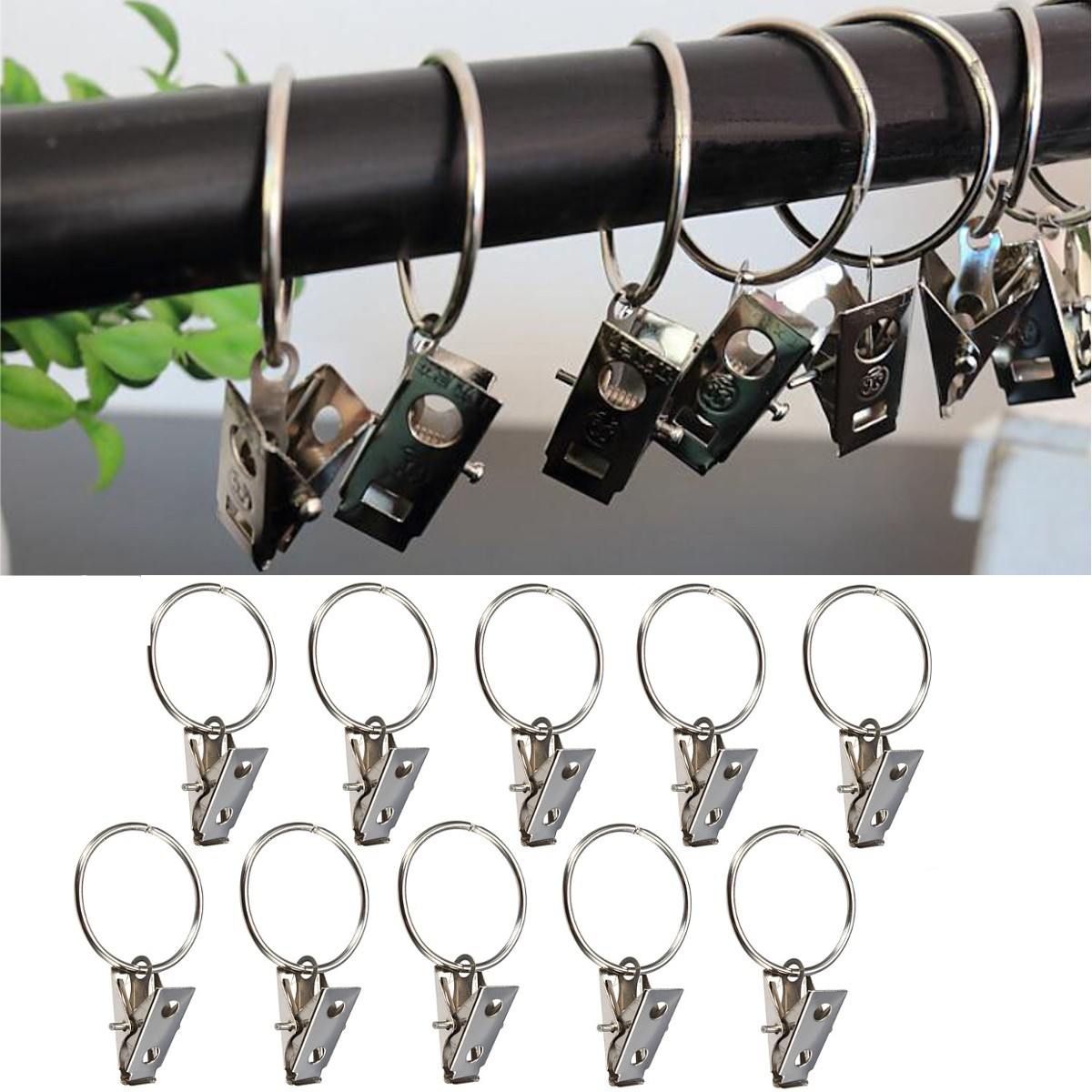 10pcs Metal Shower Curtain Rod Hook with Clip