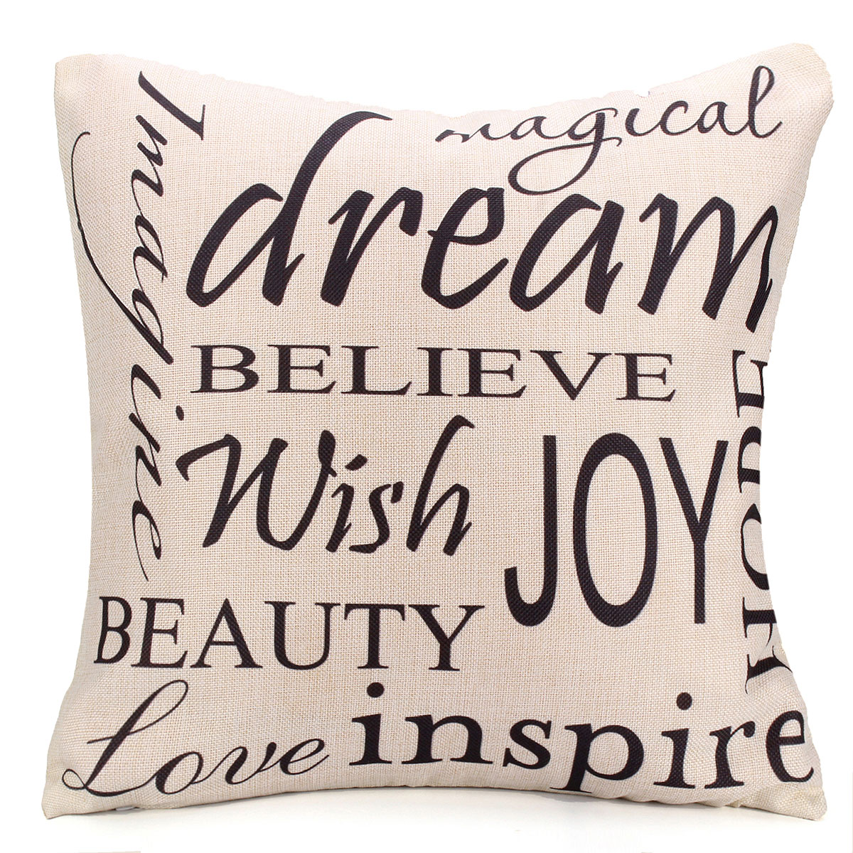 Square English Letter Cotton Linen Pillow Case Throw Cushion Cover Home Decor