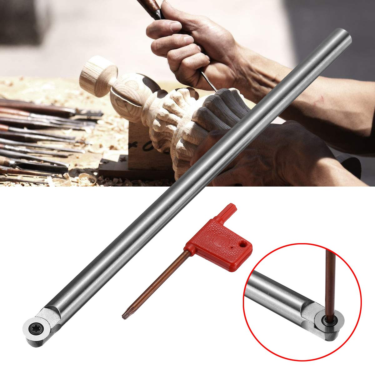 R6 250mm Wood Turning Tool Turning Chisel Round Shank with Wood Carbide Insert Cutter