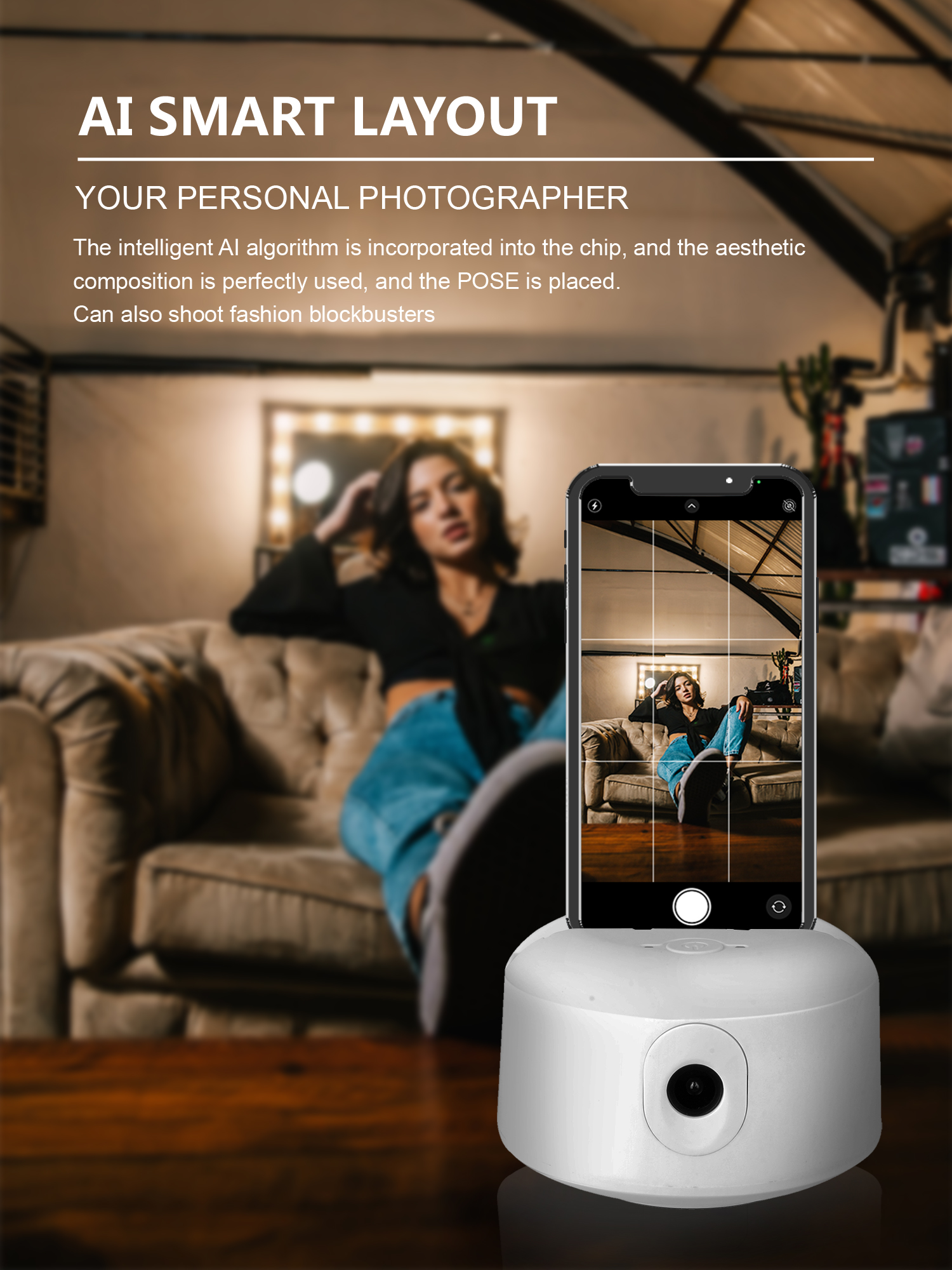 Like a cameraman! IMovie: Auto Tracking - Smart Shooting - 360 ° Rotation - Face Recognition - Video Call - Multistreamlive - Quick Create Mode - Remote Control - No need to install the app.